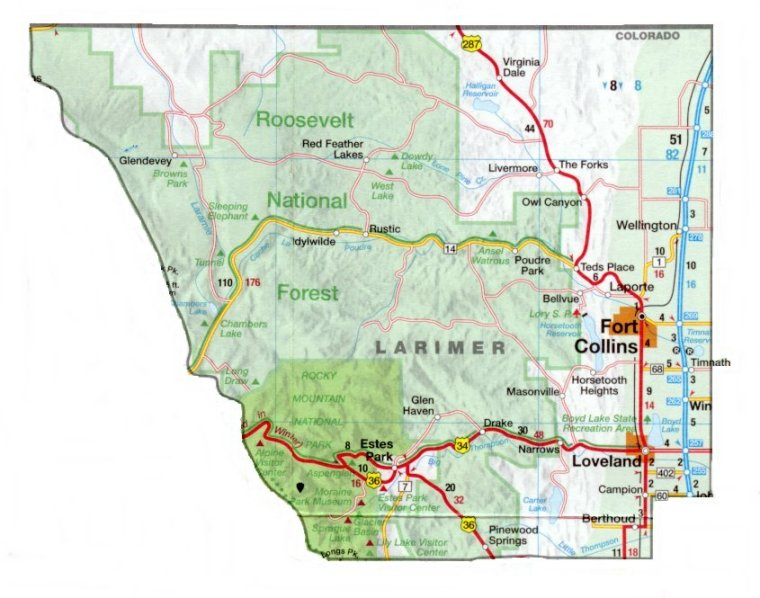 Larimer County, Detail Map | Images | Colorado Encyclopedia on