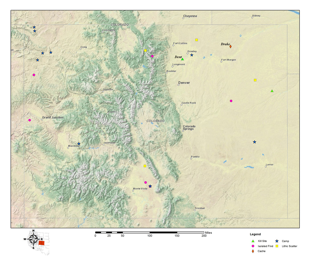 Map of Colorado Clovis site locations Images Colorado Encyclopedia