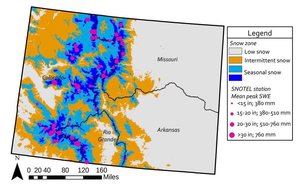 Colorado Snow Map   Images   Colorado Encyclopedia on