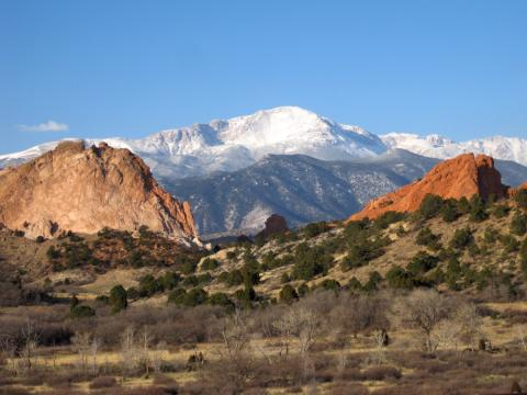 Pikes Peak From Garden Of The S